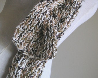 """Cabled """"Rapunzel"""" Style Scarf - Chunky, Skinny, Long - Multicolored chocolate, caramel and cream"""