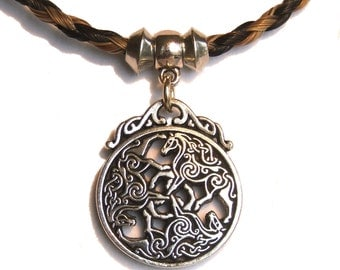 Braided Horsehair Necklace with Pewter Epona Devine Horse Celtic 3 Horse Pendant
