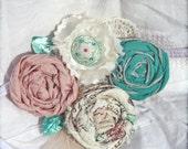 Mint Green, Blush Headband, Rose Flower Hairbow, Baby Girl Hair Bow, Hair Piece, Hair Accessories, Fabric Flower Brooch, Mint Fabric Flowers