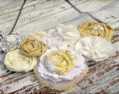 Yellow, Ivory Fabric Flower Bib Necklace, Mustard, Pale Yellow Rosette Necklace, White, Anthropology Flower Collar, Fabric Flower Jewelry