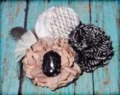Light Peach, Black, White Hair Piece, Flower Headband, Hair Accessories, Fabric Flowers, Light Coral, Flower Headband, Baby Girl Hair Bow