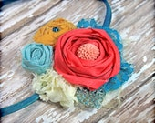 Aqua, Coral, Mustard Yellow Headband, Turquoise Hair Accessory, Teal, Ivory Fabric Flower Brooch, Baby Girl Hair Bow, Hair Piece, Hair Clip