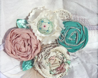 Mint Green, Blush Headband, Rose Flower Hairbow, Baby Girl Hair Bow, Hair Piece, Hair Accessories, Fabric Flower Brooch, Mint Fabric Flowers