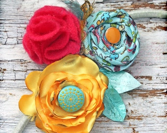 Aqua, Yellow, Pink Headband, Turquoise Hair Accessory, Baby Girl's Hair Photo Prop, Fabric Flower Headband, Women's Brooch