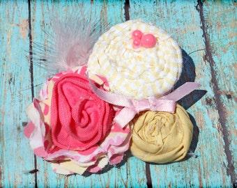 Hot Pink, Yellow Headband, Baby Girl Hair Bow, Hair Accessory, Clip, Fabric Flower Headband, Fabric Flowers Brooch
