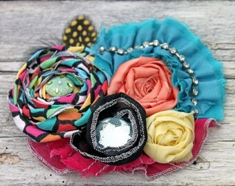 Black, Fuchsia, Yellow, Turquoise Headband, Hair Accessory, Fabric Flower Hair bow, Pink, Aqua Blue Hair Clip, Colorful Hair Piece, Hairbow