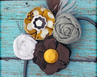Mustard Yellow, Brown, Grey, Gray Headband, Hair Accessory, Hair Clip, Fabric Flowers Bow, Baby Girl Hair Bow, Fabric Flower Brooch