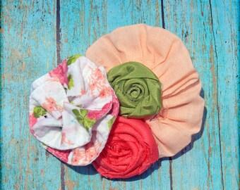 Coral, Lime, White Headband, Hair Accessories, Fabric Flowers Hair Clip, Hair Bows, Baby Girl Hair Piece, Orange Headbands, Flower Brooch