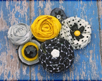 Yellow, Grey, Black Headband, Silver Hair Accessory, Baby Girl Hair Clip, Mustard Yellow, Fabric Flower Brooch, Infant HairBow, Accessories
