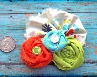 Orange, Lime, Aqua Headband, Hair Bow, Turquoise Hair Accessories, Baby Hair Bow, Fabric Flower Hair Clip, Flower Hair Piece