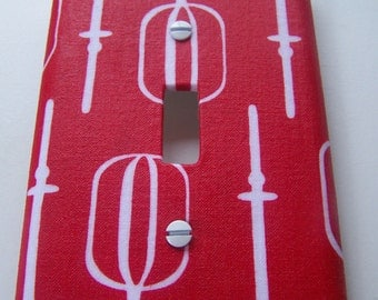 Switchplate Cover- Single, Retro Red, Retro Kitchen, Red Kitchen, Decorative Lighting, Decorative Light Switch Cover