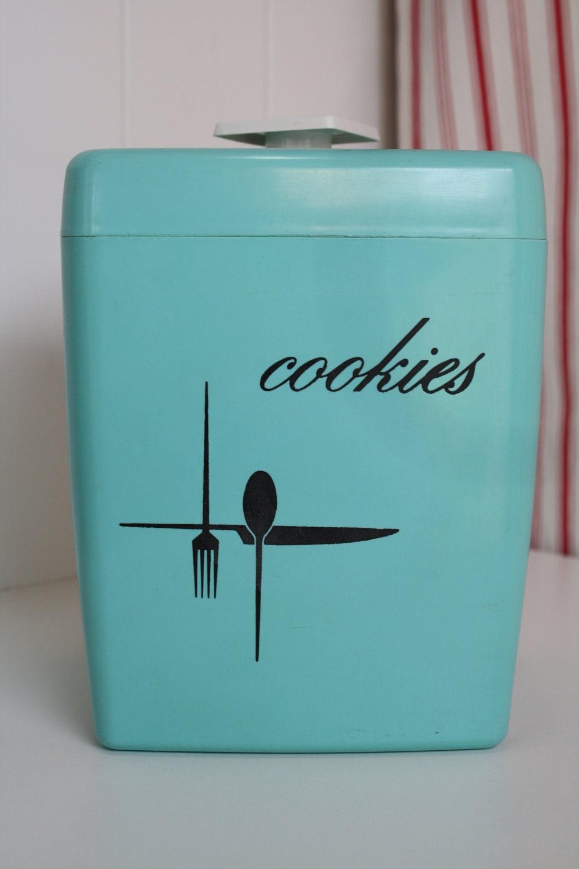Retro Cookie Jar Aqua Kitchen Decor Vintage By Themerryhomemaker