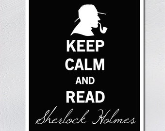 Keep Calm Sherlock Holmes, Vintage StyleBook Lover Gift, Gifts for Writers, Book Lover Art, Author Gifts, Literary Art, Library Decor