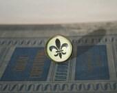 ring  green fleur de lis french adjustable