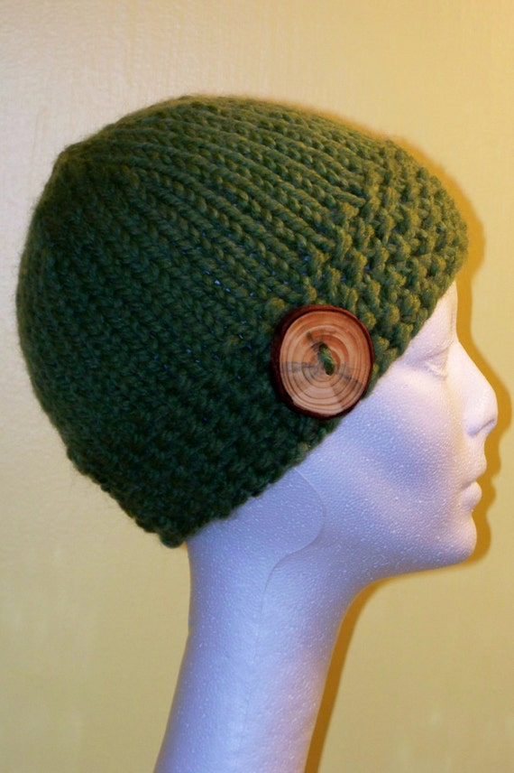 Warm Winter Beanie Hat Grass Green with Handmade Wooden Button