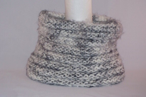 Neck Cowl Scarf , Ultra Soft, White and Black, Cowl