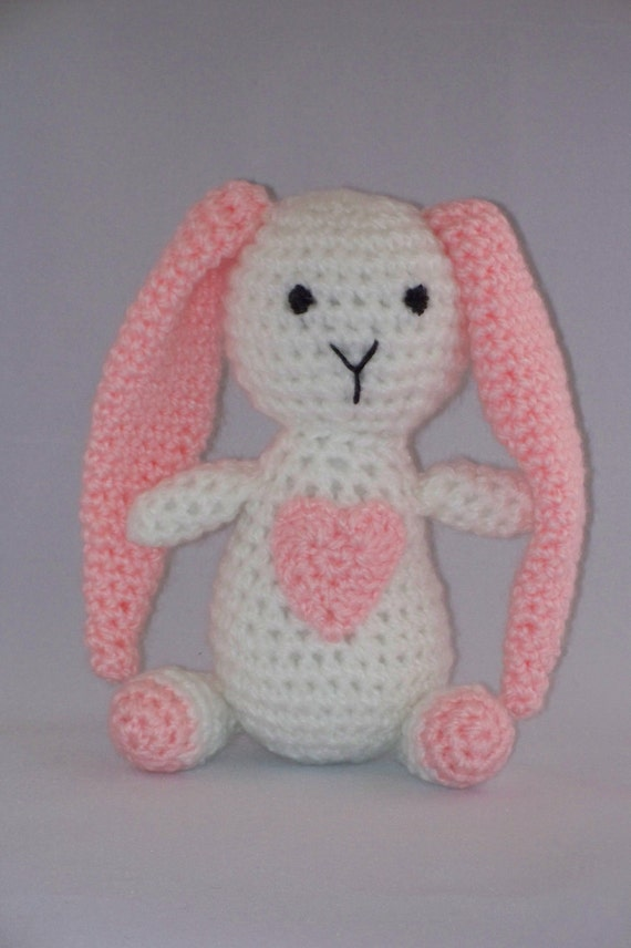 Crochet Bunny with a Big Heart, Stuffed Toy, Pink and White, Baby, Baby Shower Gift