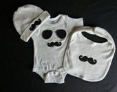 Mustache Baby Boy Gift Set Mustache Onesie, Mustache Bib and Mustache Beanie Hat For Little Man