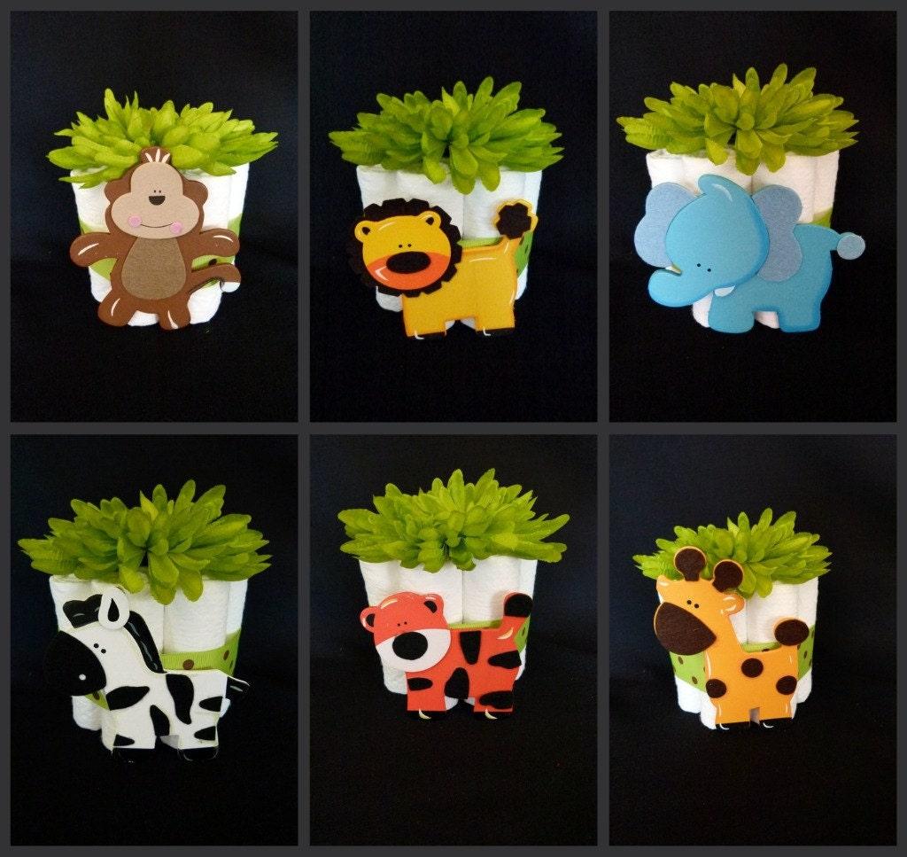 Set Of 4 Jungle Zoo Animals Mini Baby Diaper Cakes Shower