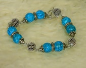 Turquoise Crackled Glass Bracelet