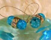 Crackled Glass Blue Pill Earrings