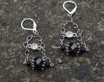 Black and Silver Double Chain Dangle on Lever Back Earrings