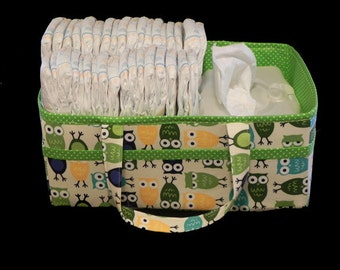 Baby Diaper Caddy - Baby Gift - Owl in Green Polka Dot