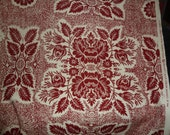 Yardage of One of a Kind Vintage Twill Fabric - Red and Cream