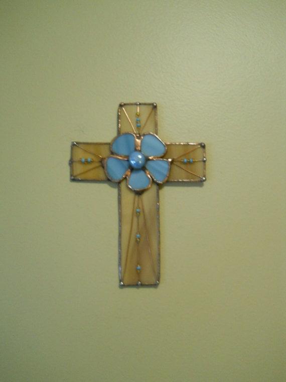 Cross Stained Glass Aqua Blue Daisy