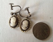 Screw Back Cameo Earrings with Pearls