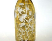 Glass bottle Incense burner- Exotic Flowers- Hand Etched