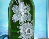 Incense burner Glass bottle- Hand Etched- Free Shipping- Fantasy Island Flowers