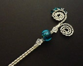 Hair Stick- Wire Wrapped- Blue Beaded- Silver Copper wire- FREE SHIPPING