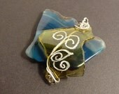 Wire Wrapped- Hand Etched- Yellow Glass Pendant- Etchtat2 -FREE SHIPPING