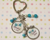 Teal Grandma-Mom Bottlecap Keychain - Great Grandmother Christmas Present