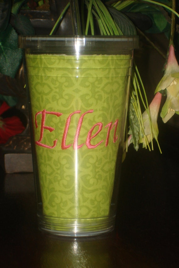 Personalized Acrylic Drinking Cup With Straw
