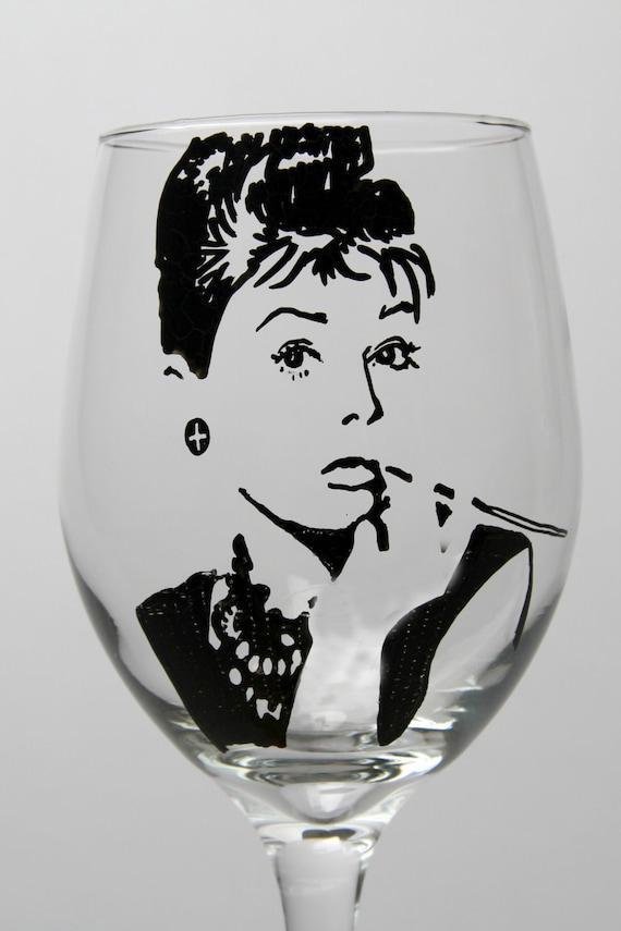 Items Similar To Audrey Hepburn Wine Goblet Painted Wine