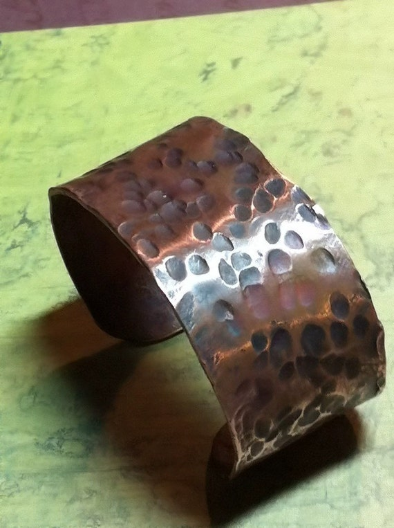 Handmade Hammered Copper rustic childs bracelet or wrist armour.