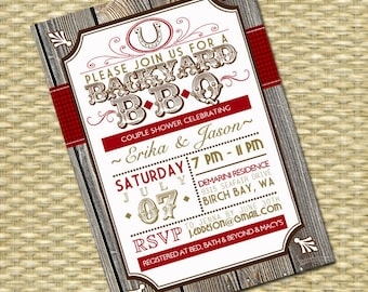 Rustic Country Western Bridal Shower BBQ Invitation I Do BBQ Couples Shower Typography Poster, Any Colors, Any Event