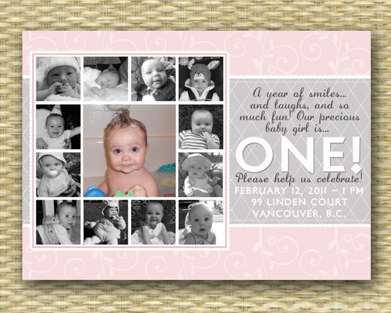 1st Birthday Invitation First Birthday First Year Photo Collage First Birthday Invite Baby Girl Pink Grey, ANY COLORS