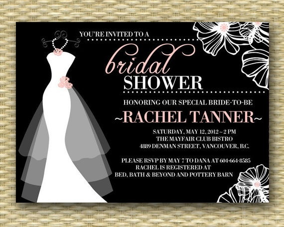 Printable wedding dress bridal shower invitation dress on for Wedding dress bridal shower invitations