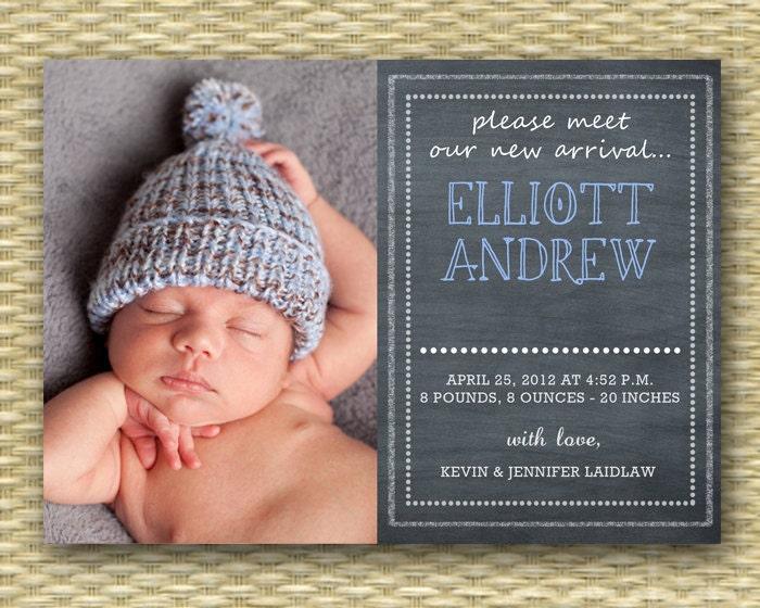 Chalkboard Birth Announcement Baby Boy Birth Announcement Baby – How to Announce Baby Boy