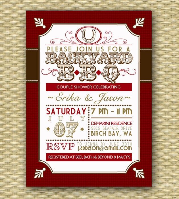 Backyard BBQ Wedding Shower Invitation Rustic Country Western