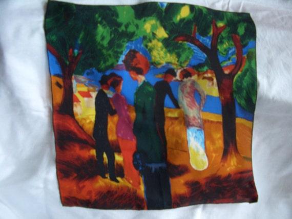 Silk scarf - August Macke - Codello Artrepro Medici - square - vintage