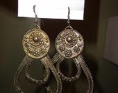 Etruscan Revival Gold Hoop Design Earrings