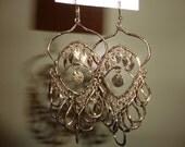 Egyptian/Etruscan Style Gold Dangle Chandelier Charm Earrings NEW