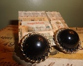Vintage Round Gold and Black Plastic 50s 60s Earrings