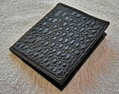 Croc embossed black leather bifold wallet.