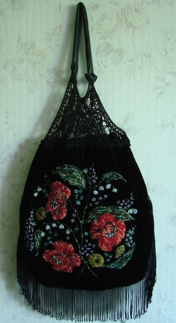 Black vintage look silk velvet bag with bead embroidered poppies, free shipping