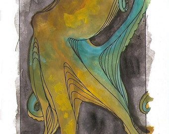 """Octopus Painting - Tentative Octopus  - Fine Art Giclee Print 10/50 of 4""""x6"""" Colorful Watercolor Gouache"""